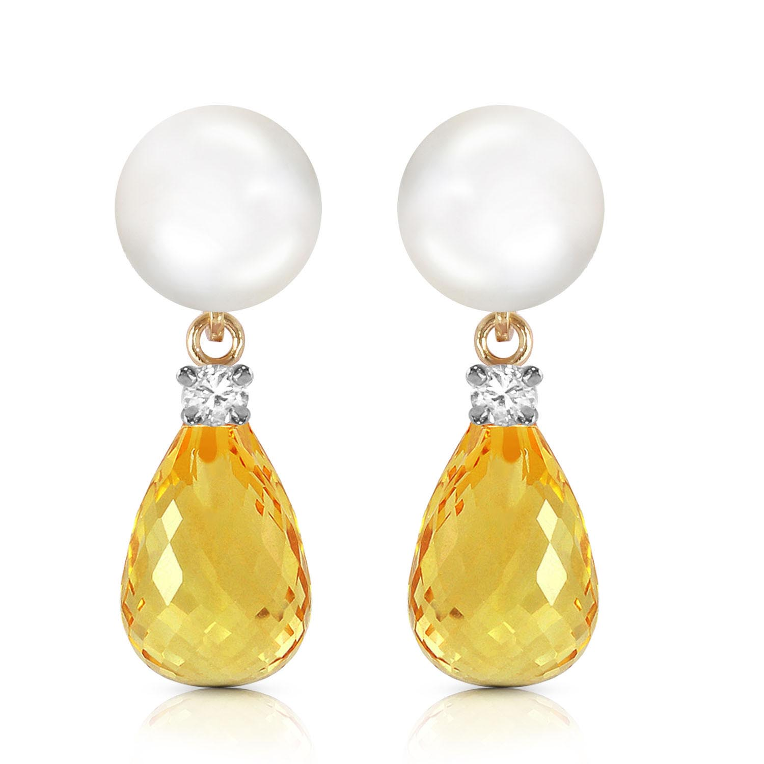 Pearl, Diamond and Citrine Stud Earrings 6.5ctw in 9ct Gold