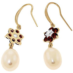 Pearl, Diamond and Garnet Daisy Chain Drop Earrings 8.95ctw in 14K Gold