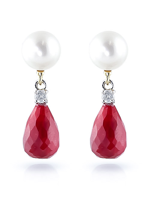 Ruby, Diamond and Pearl Drop Earrings 8.6ctw in 14K Gold