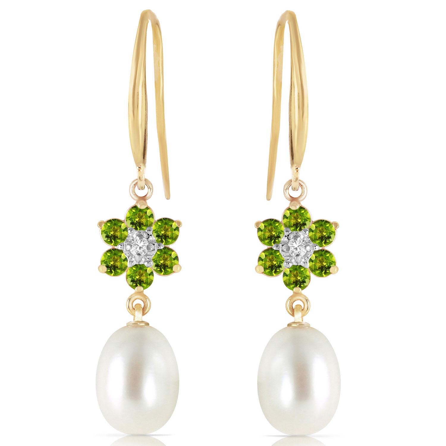 Pearl, Diamond and Peridot Daisy Chain Drop Earrings 8.95ctw in 14K Gold