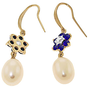 Pearl, Diamond and Sapphire Daisy Chain Drop Earrings 8.95ctw in 14K Gold