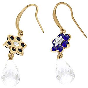 White Topaz, Diamond and Sapphire Daisy Chain Drop Earrings 5.45ctw in 9ct Gold