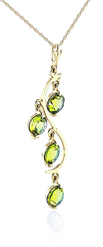 Peridot Dream Catcher Pendant Necklace 2.25ctw in 14K Gold