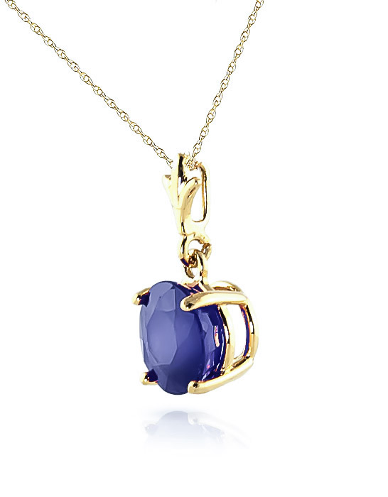 Round Brilliant Cut Sapphire Pendant Necklace 1.65ct in 14K Gold