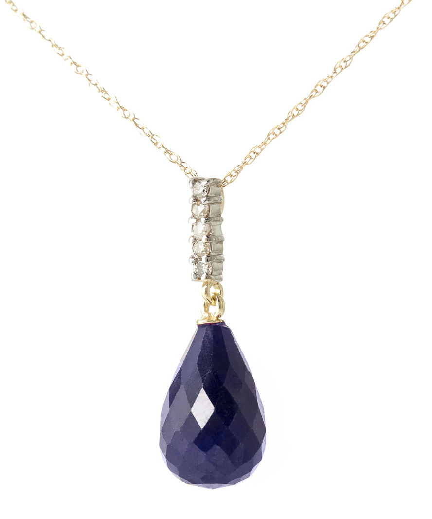 Sapphire and Diamond Pendant Necklace 8.8ct in 14K Gold