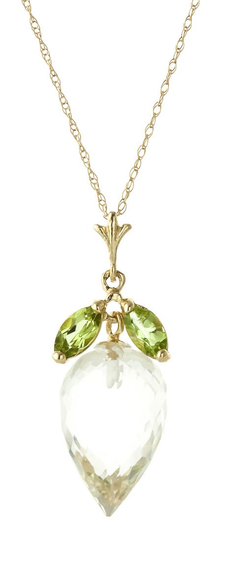 white topaz and peridot pendant necklace 12 75ctw in 9ct