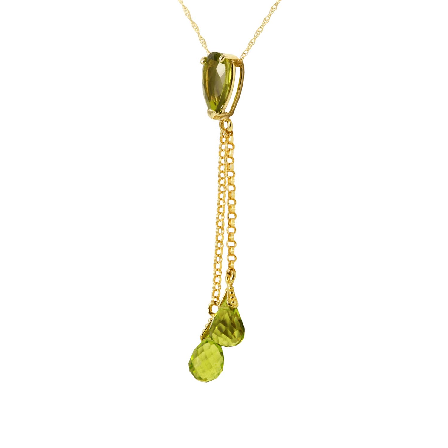 Peridot Droplet Pendant Necklace 3.75ctw in 9ct Gold