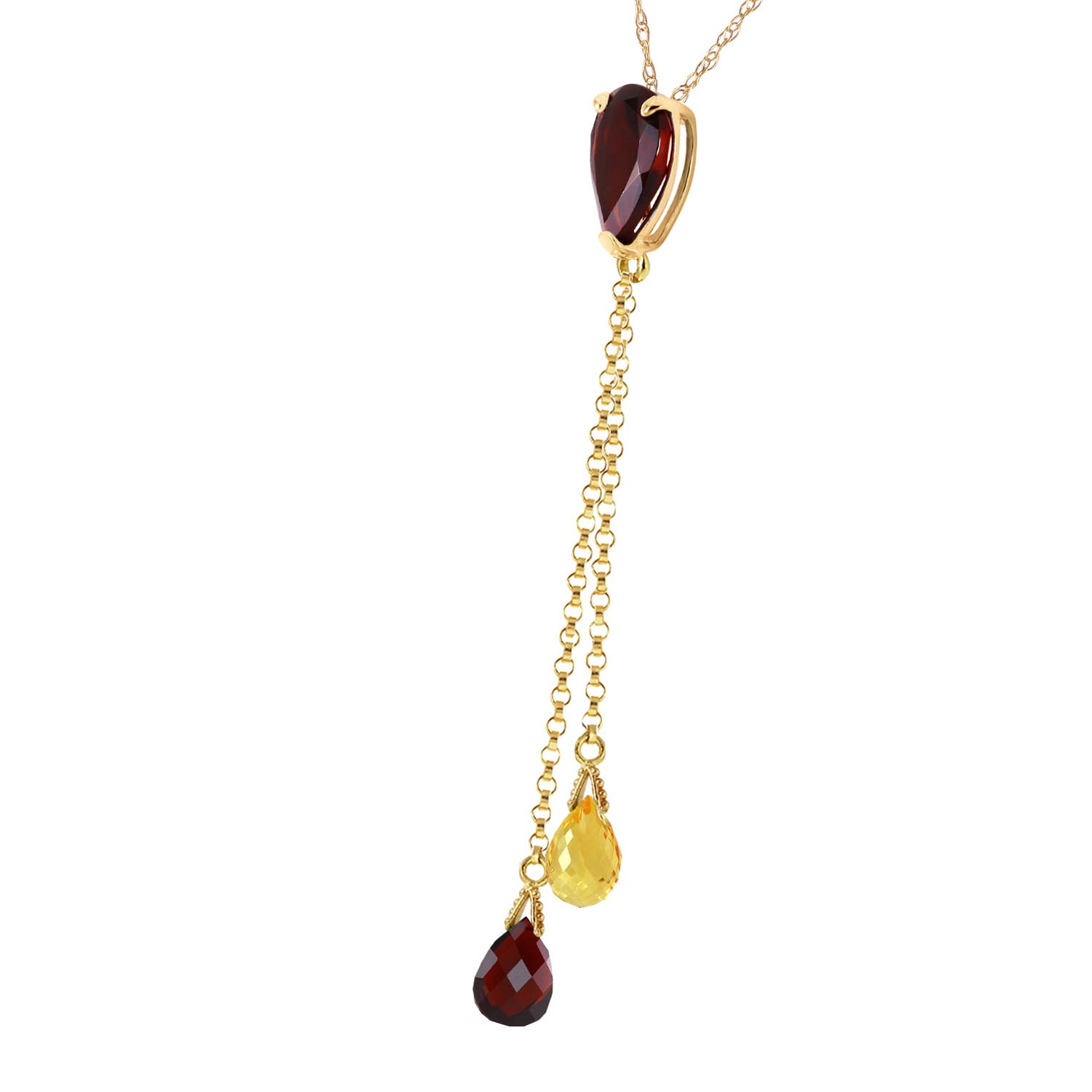 Garnet and Citrine Droplet Pendant Necklace 3.75ctw in 9ct Gold