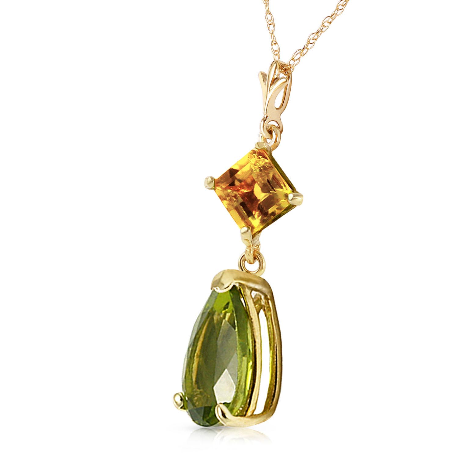Peridot and Citrine Droplet Pendant Necklace 2.0ctw in 9ct Gold