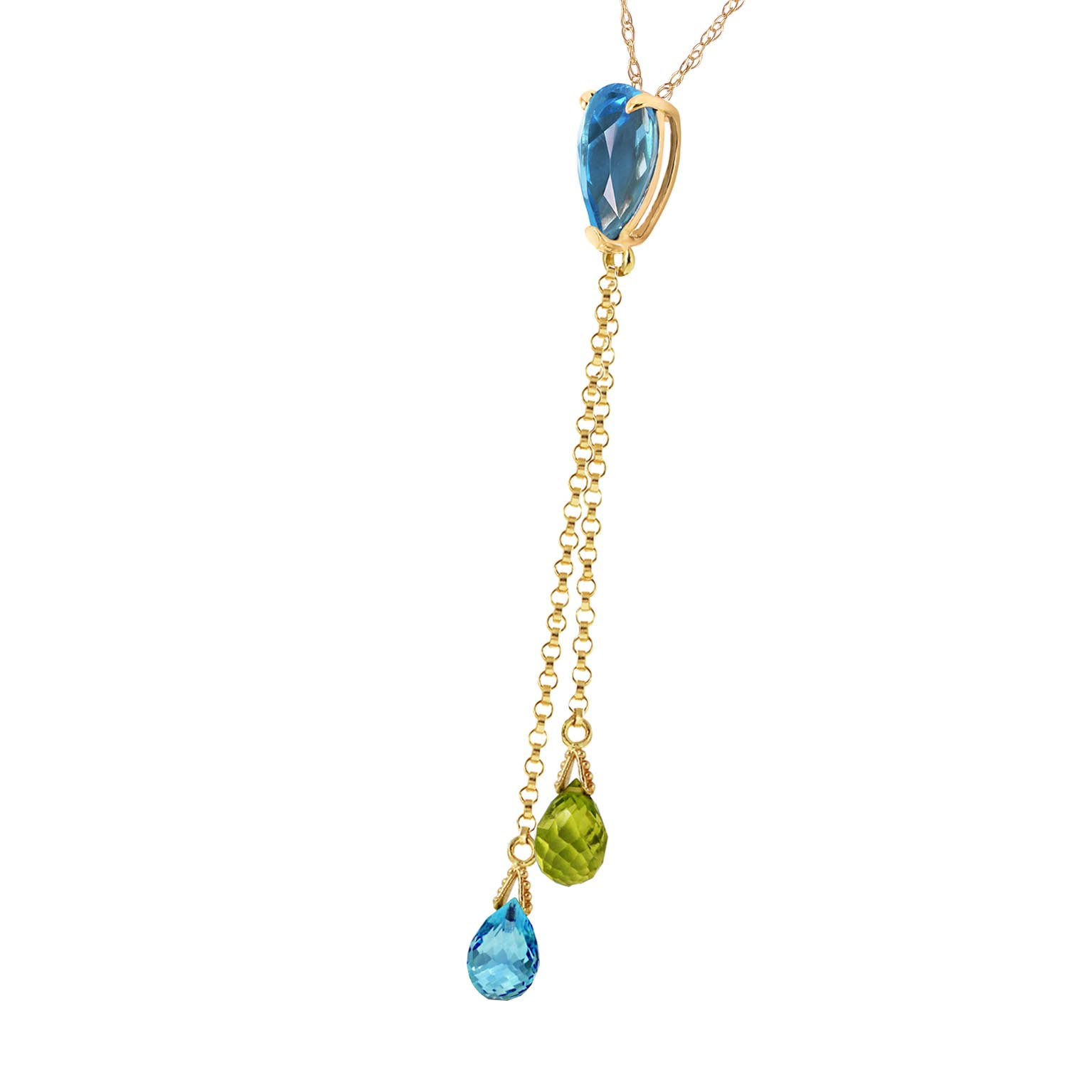Blue Topaz and Peridot Droplet Pendant Necklace 3.75ctw in 9ct Gold