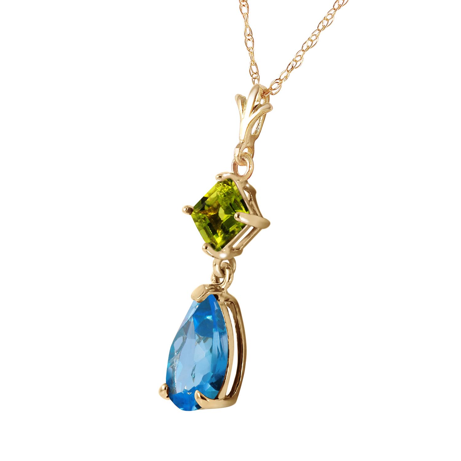 Blue Topaz and Peridot Droplet Pendant Necklace 2.0ctw in 9ct Gold