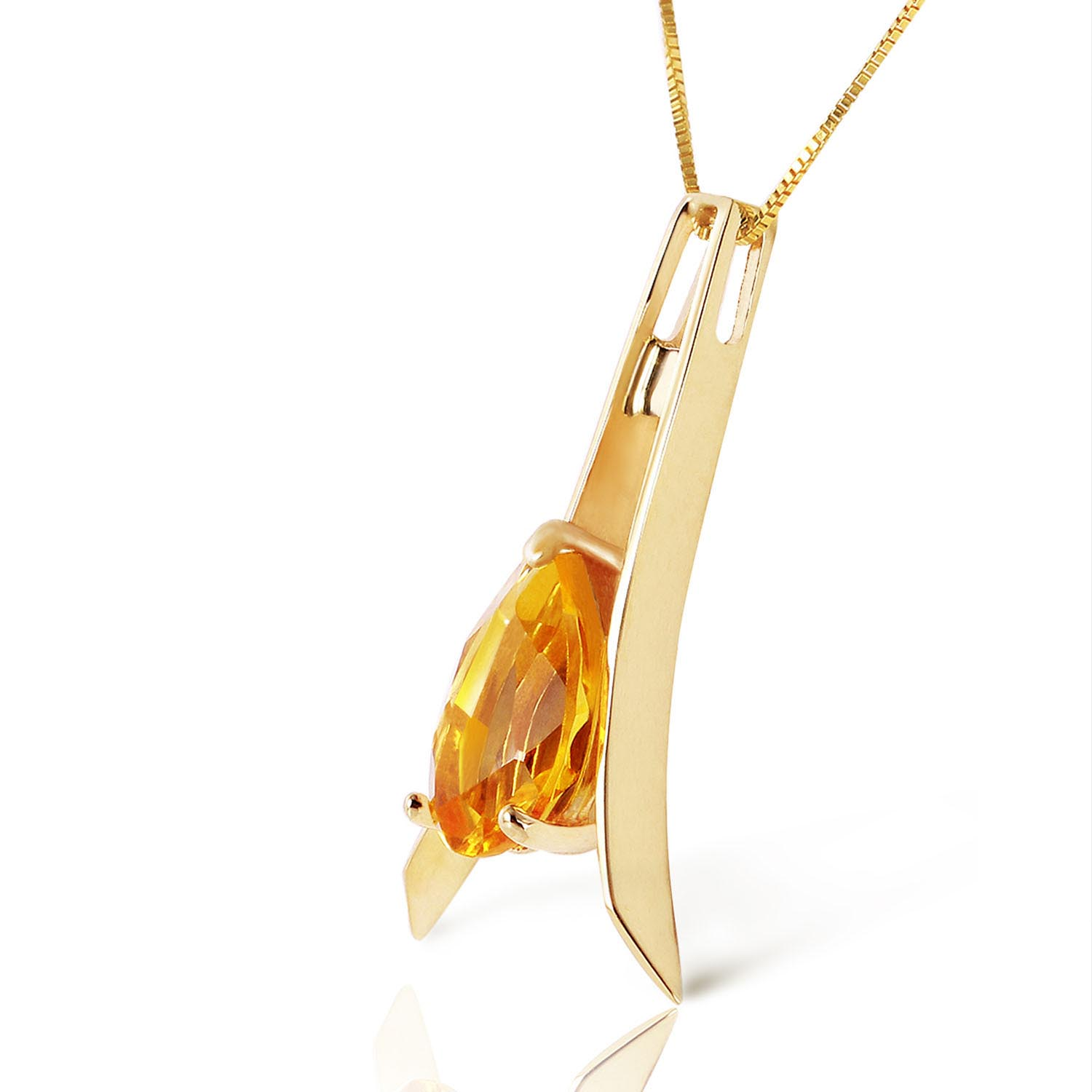 Citrine Eiffel Pendant Necklace 1.5ct in 9ct Gold