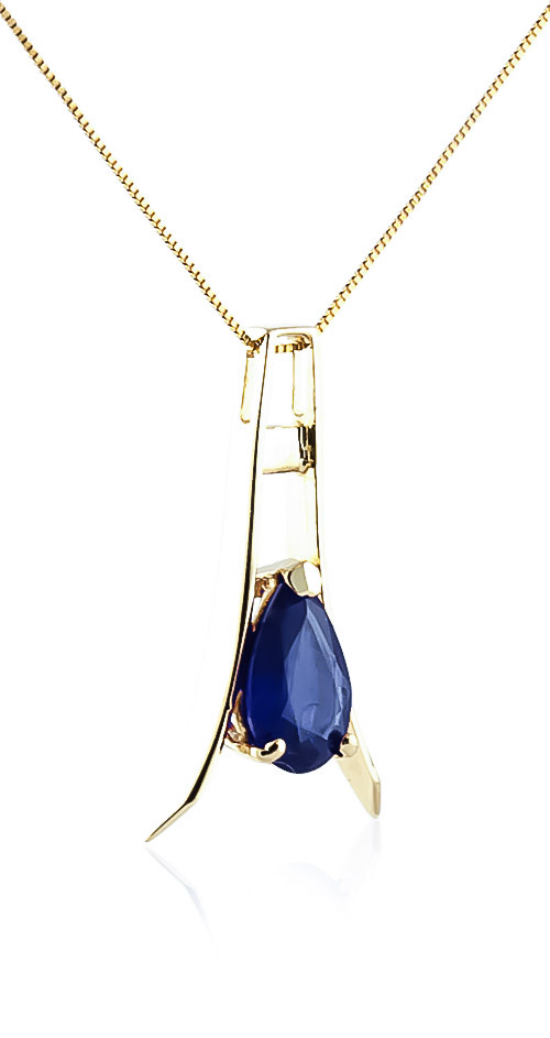 Sapphire Eiffel Pendant Necklace 1.5ct in 14K Gold