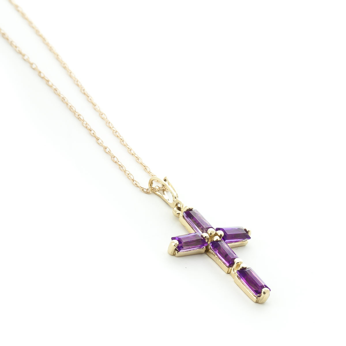 Amethyst Cross Pendant Necklace 1.15ctw in 9ct Gold
