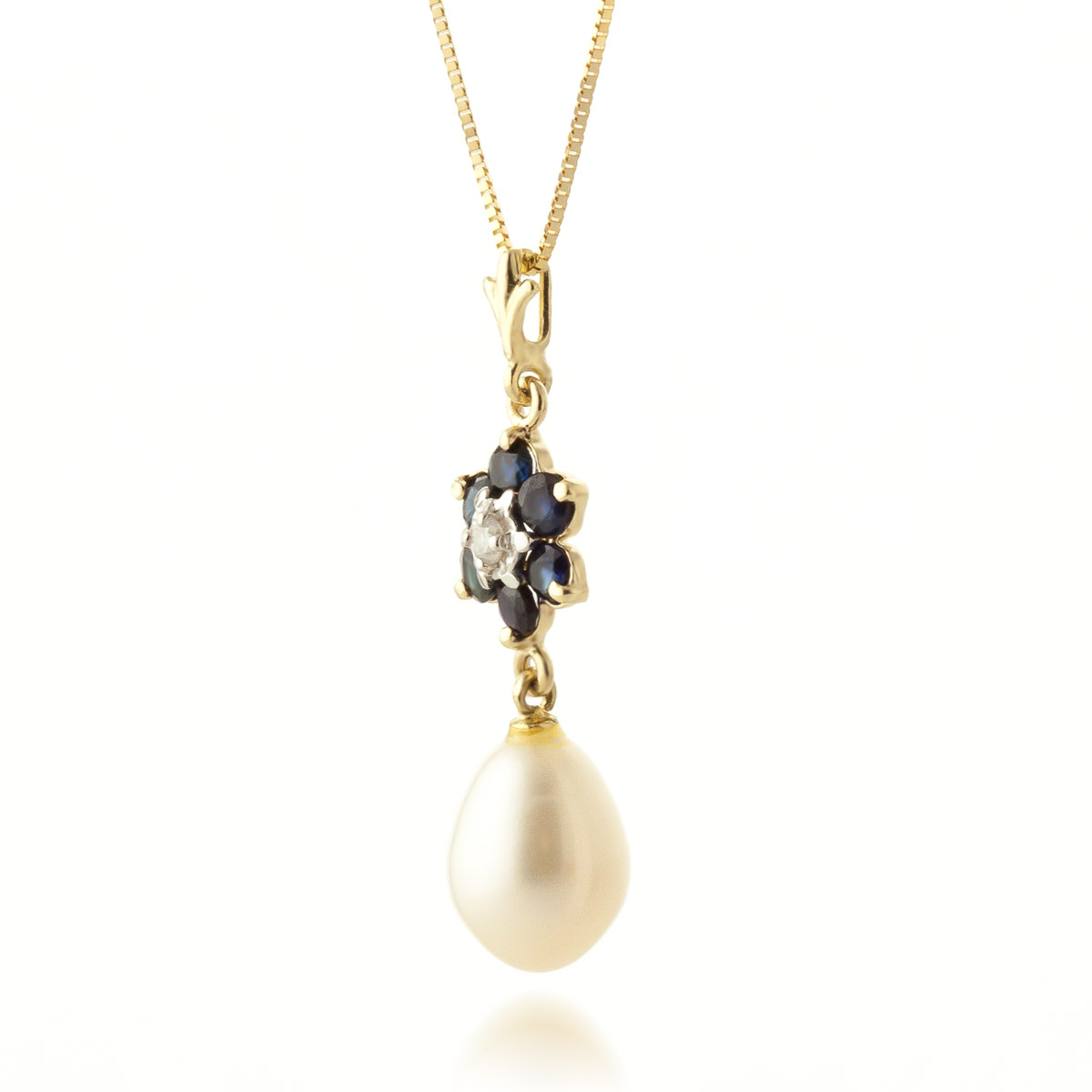Sapphire and Diamond Flower Pendant Necklace 3.8ctw in 9ct Gold