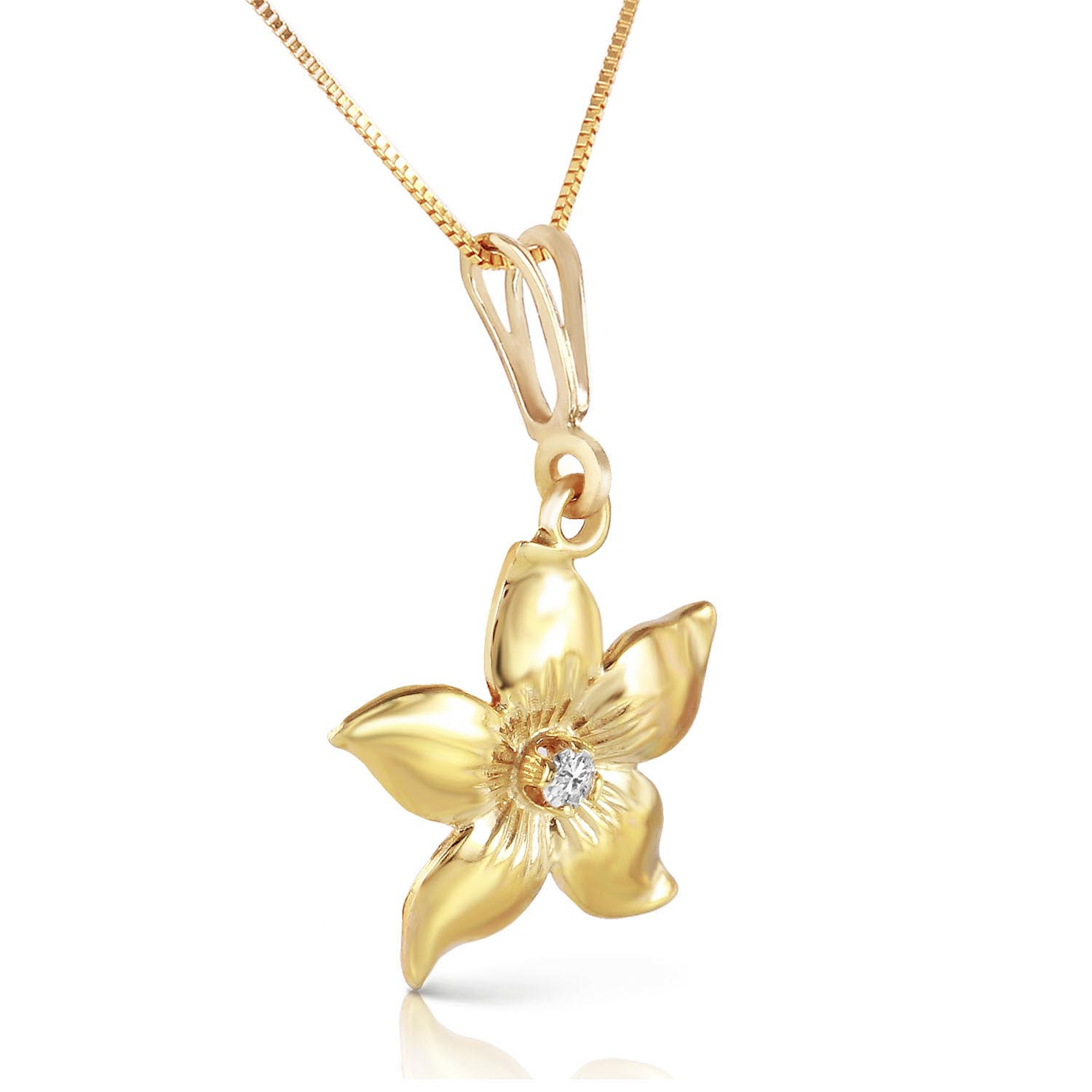 Diamond Flower Petal Pendant Necklace in 9ct Gold