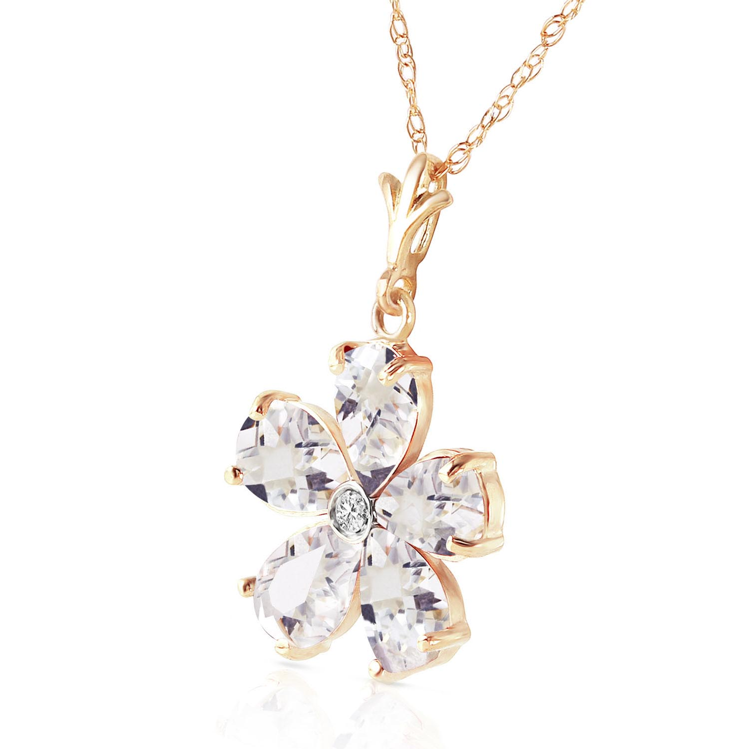 White Topaz and Diamond Flower Petal Pendant Necklace 2.2ctw in 9ct Gold