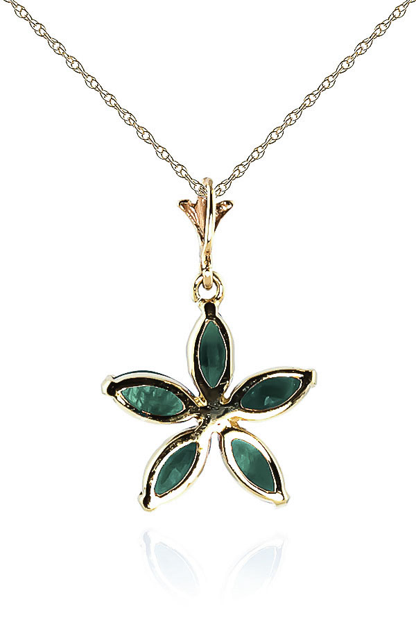 Emerald Flower Star Pendant Necklace 1.4ctw in 9ct Gold