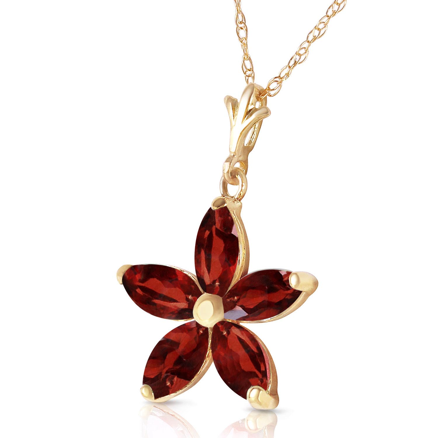 Garnet Flower Star Pendant Necklace 1.4ctw in 9ct Gold