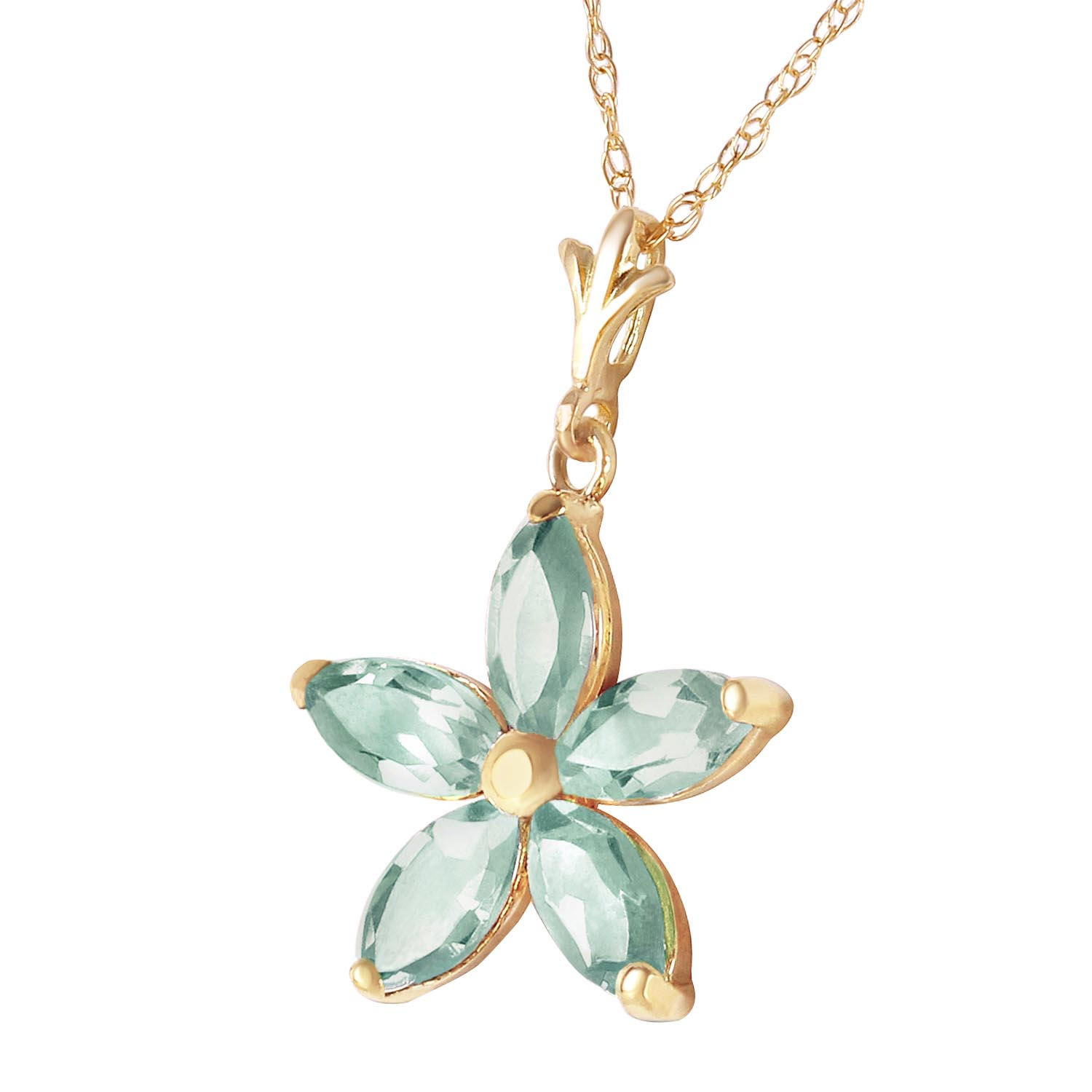 Green Amethyst Flower Star Pendant Necklace 1.4ctw in 14K Gold