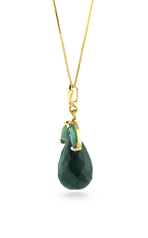 Emerald Snowdrop Briolette Pendant Necklace 9.3ctw in 14K Gold