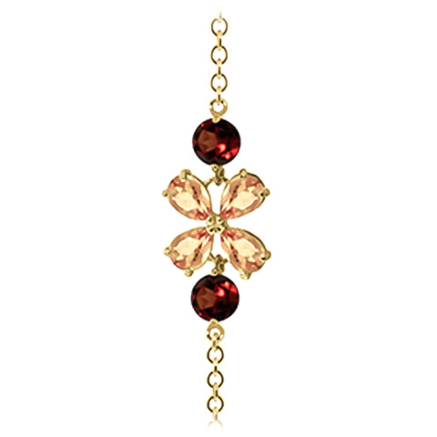 Citrine and Garnet Adjustable Bracelet 3.15ctw in 14K Gold