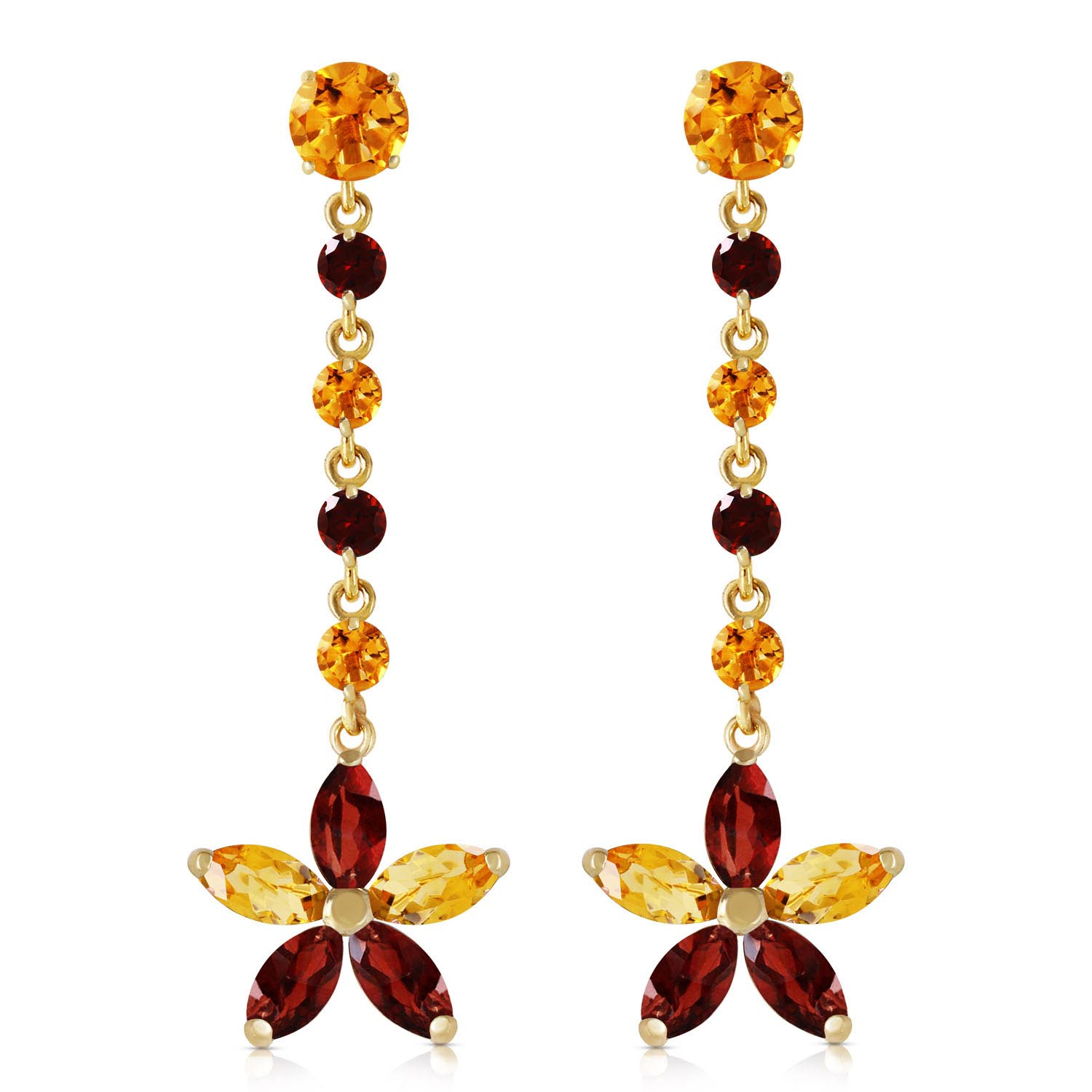Citrine and Garnet Daisy Chain Drop Earrings 4.8ctw in 9ct Gold
