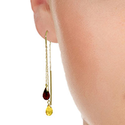 Citrine and Garnet Scintilla Earrings 2.5ctw in 9ct Gold