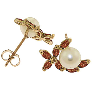 Pearl and Garnet Ivy Stud Earrings 3.25ctw in 14K Gold