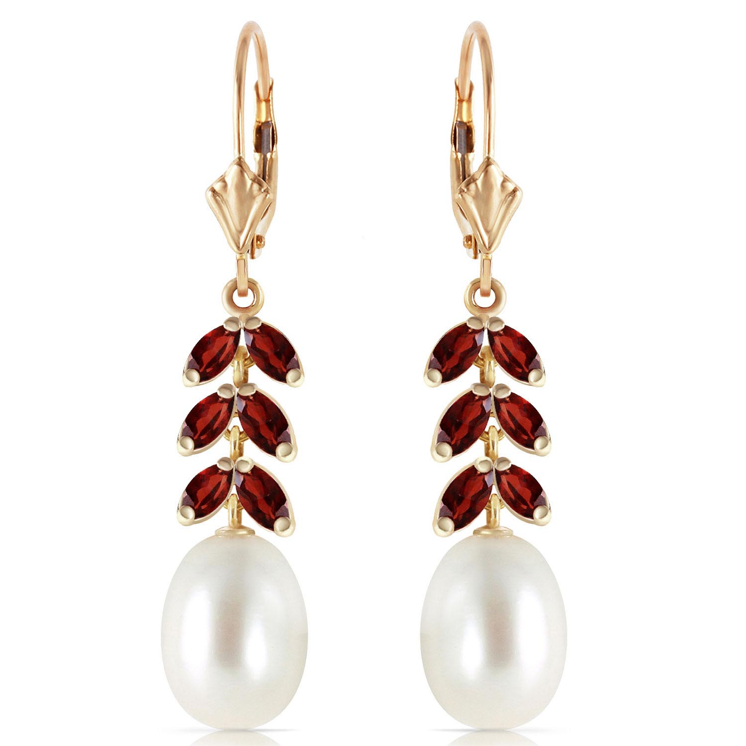 Pearl and Garnet Drop Earrings 9.2ctw in 14K Gold