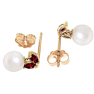 Pearl and Garnet Snowdrop Stud Earrings 4.4ctw in 9ct Gold