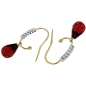 Diamond and Garnet Stem Droplet Earrings in 9ct Gold