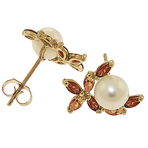Pearl, Garnet and Citrine Ivy Stud Earrings 3.25ctw in 9ct Gold