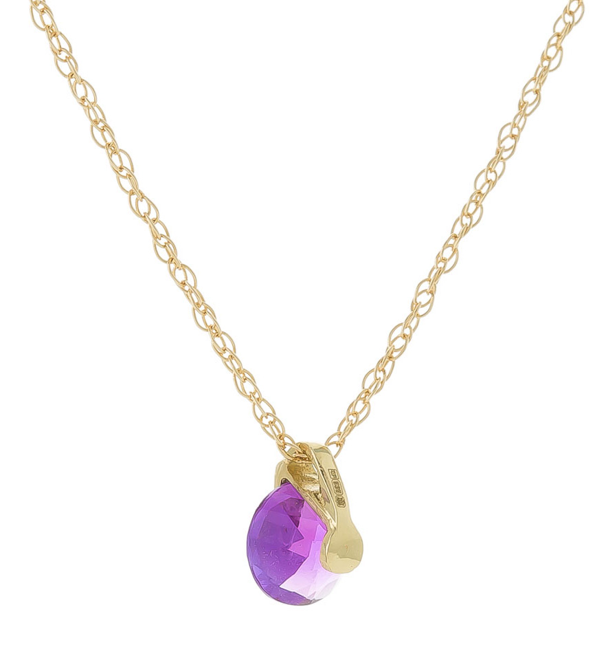 Round Brilliant Cut Amethyst Pendant Necklace 0.75ct in 9ct Gold
