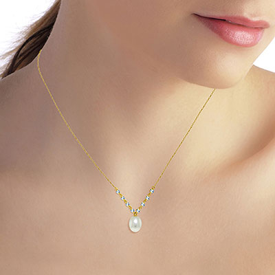 Pearl and Aquamarine by the Yard Pendant Necklace 5.0ctw in 9ct Gold