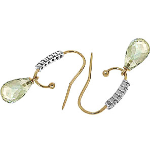 Diamond and Green Amethyst Stem Droplet Earrings in 14K Gold