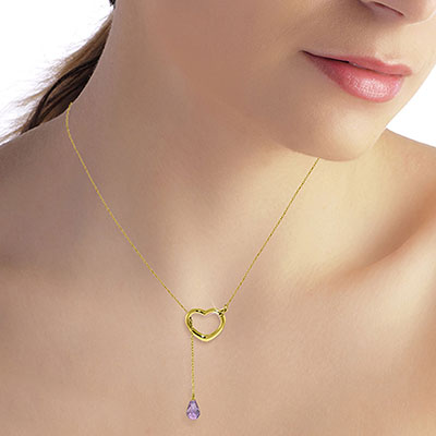 Amethyst Briolette Pendant Necklace 2.25ct in 14K Gold