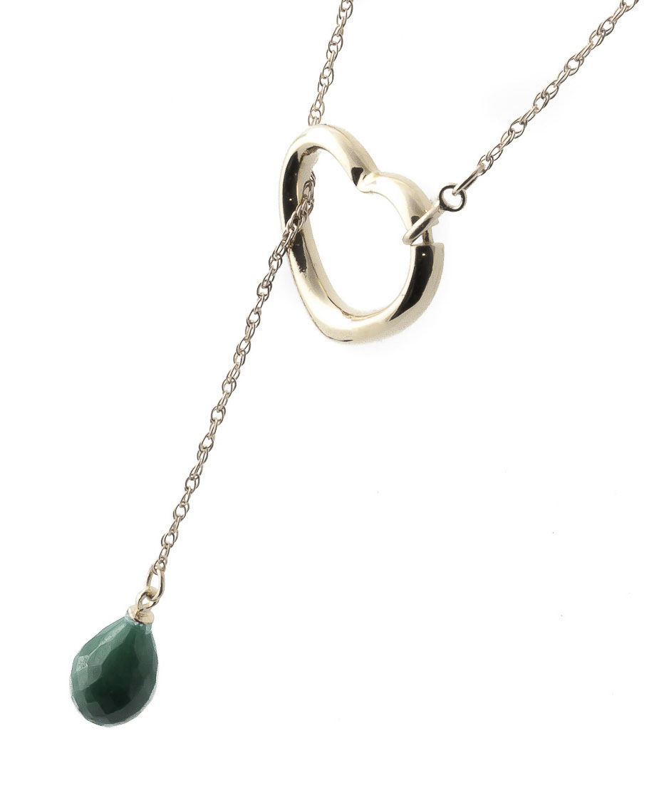 Emerald Briolette Pendant Necklace 3.3ct in 14K Gold