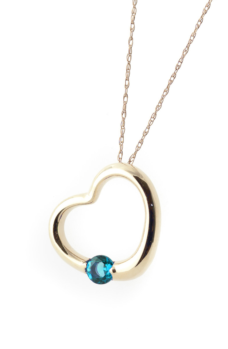 Round Brilliant Cut Blue Topaz Pendant Necklace 0.25ct in 9ct Gold