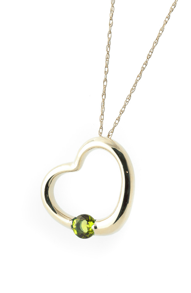 Round Brilliant Cut Peridot Pendant Necklace 0.25ct in 9ct Gold