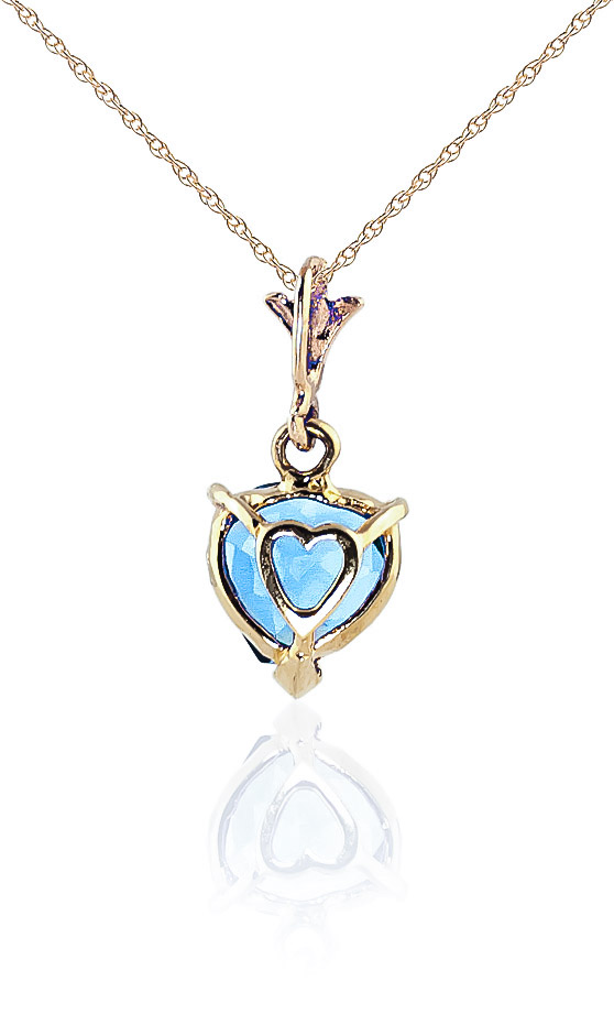Blue Topaz Heart Pendant Necklace 1.15ct in 14K Gold
