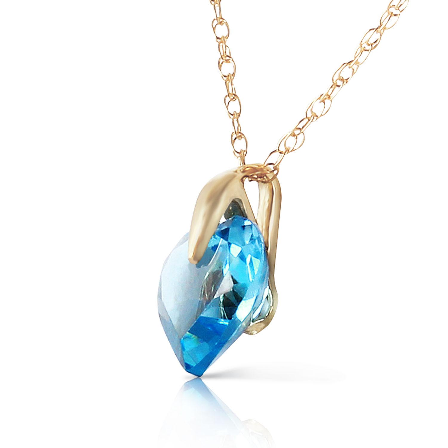 Blue Topaz Heart Pendant Necklace 1.15ct in 9ct Gold