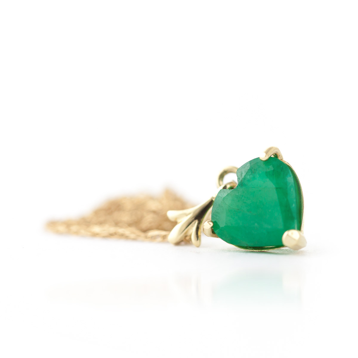 Emerald Heart Pendant Necklace 1.2ct in 14K Gold