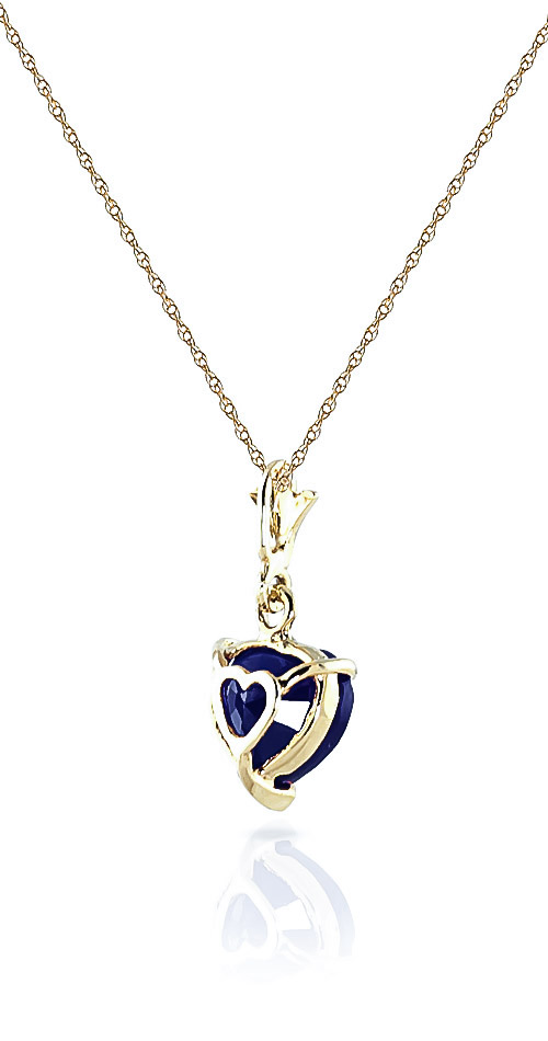 Sapphire Heart Pendant Necklace 1.55ct in 14K Gold