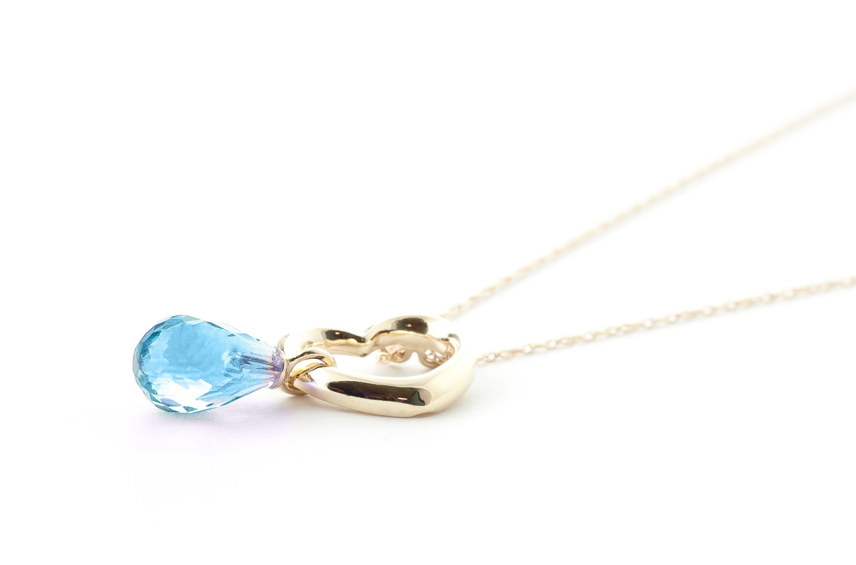 Pear Cut Blue Topaz Pendant Necklace 2.25ct in 9ct Gold