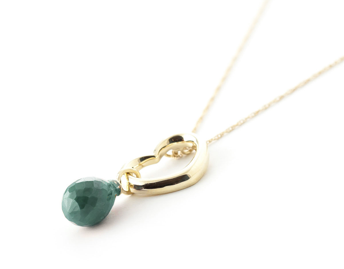 Pear Cut Emerald Pendant Necklace 3.3ct in 9ct Gold