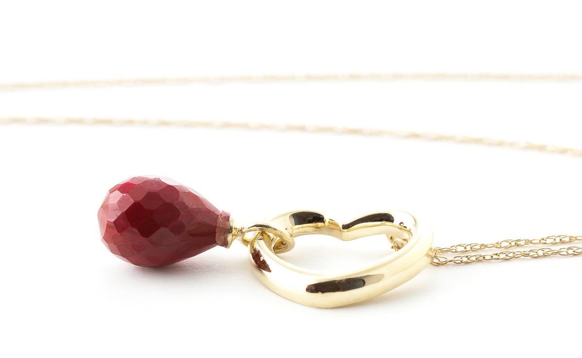 Pear Cut Ruby Pendant Necklace 3.3ct in 9ct Gold