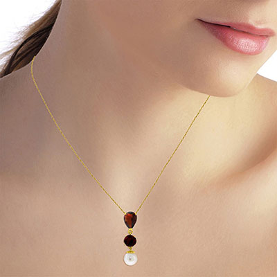 Garnet and Pearl Hourglass Pendant Necklace 1.75ct in 14K Gold