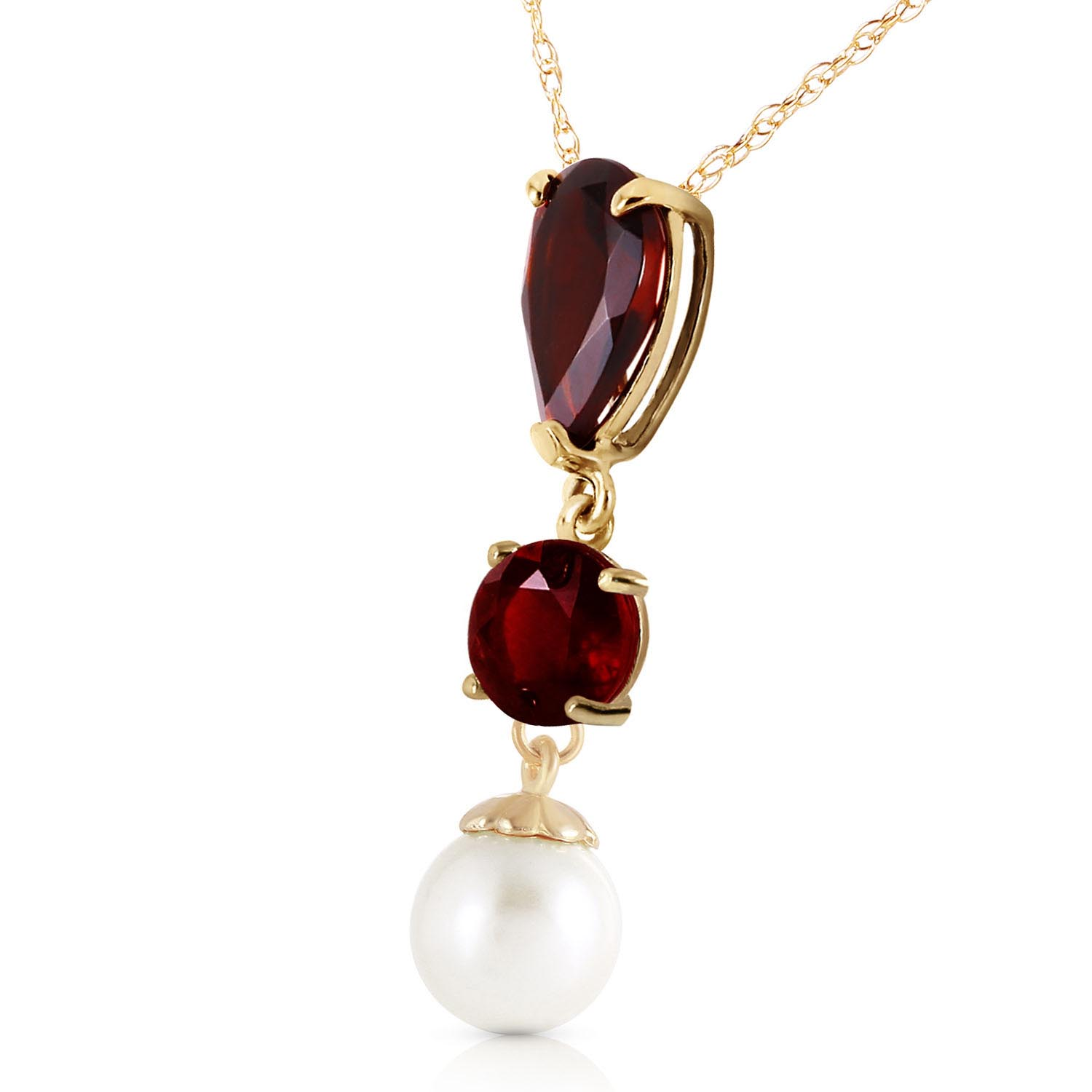 Garnet and Pearl Hourglass Pendant Necklace 5.25ctw in 9ct Gold