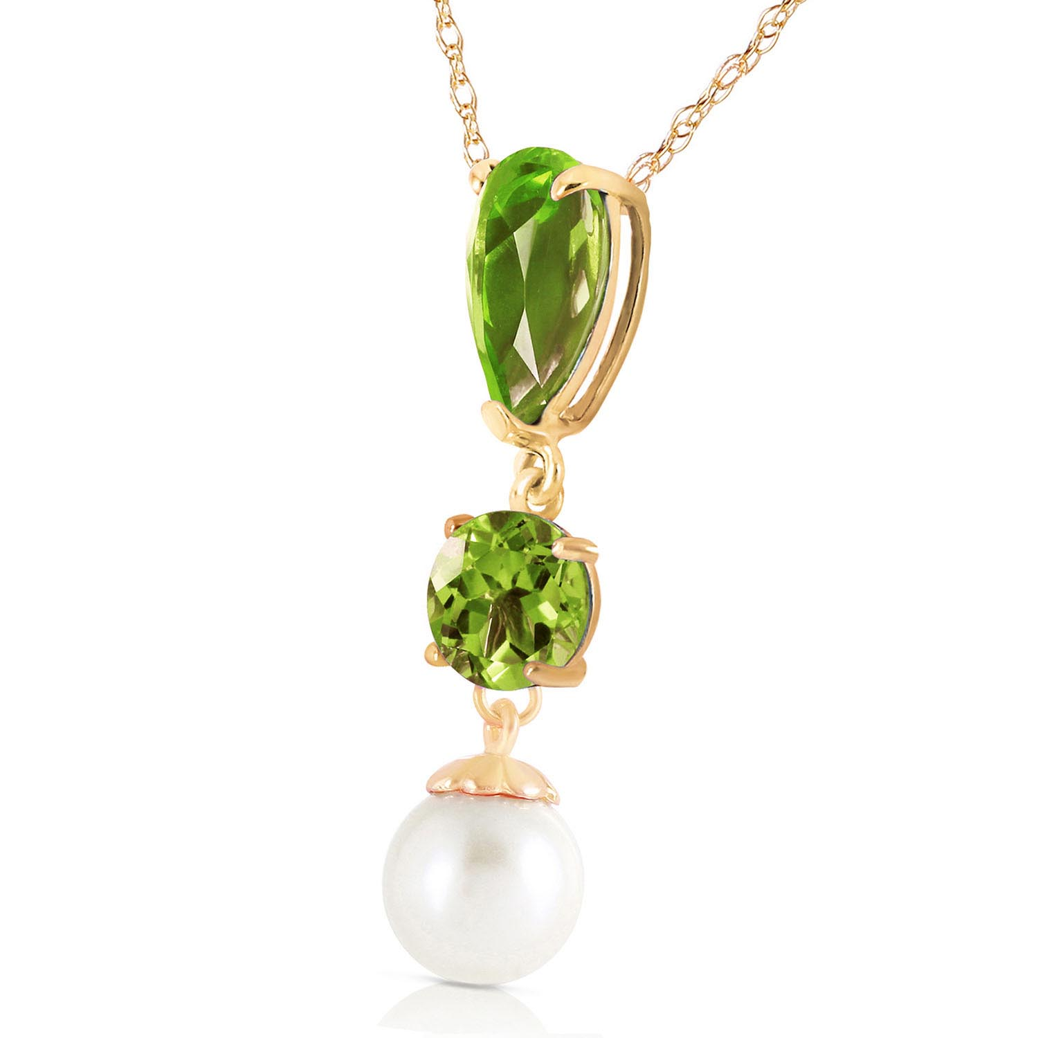 Peridot and Pearl Hourglass Pendant Necklace 5.25ctw in 9ct Gold